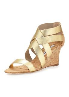 Manolo Blahnik Glassa Strappy Cork Wedge Sandal