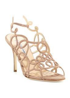 Manolo Blahnik Gori Suede Squiggly Sandals