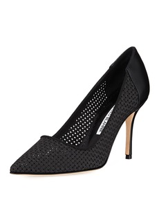 Manolo Blahnik Granus Woven Pointed Pumps