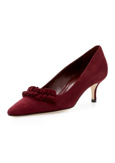 Manolo Blahnik Gring Suede Ruffle-Trim Point-Toe Pump