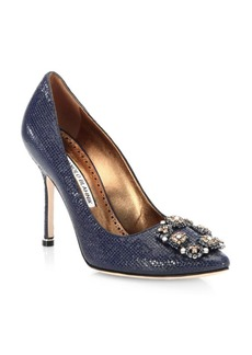 Manolo Blahnik Hangisi 105 Nappa Embossed Leather Pumps