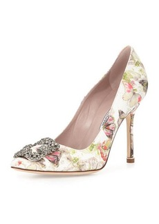 Manolo Blahnik Hangisi 105mm Butterfly-Print Satin Pump