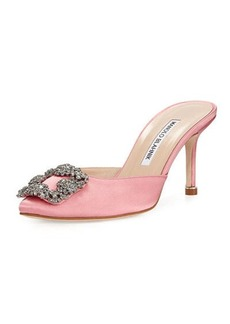 Manolo Blahnik Hangisi 70mm Satin Mule Pump