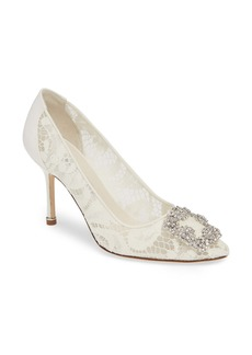 Manolo Blahnik Hangisi Brooch Lace Pump (Women)