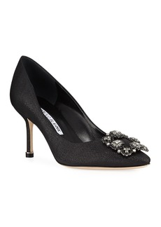 Manolo Blahnik Hangisi Crystal-Buckle 70mm Pumps