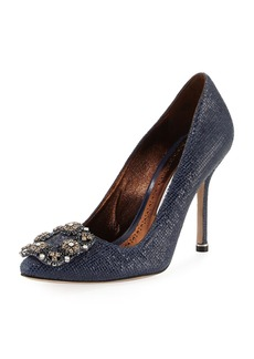 Manolo Blahnik Hangisi Crystal-Buckle Embossed 105mm Pump
