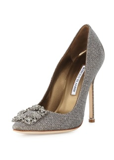 Manolo Blahnik Hangisi Crystal-Buckle Shimmery 115mm Pump
