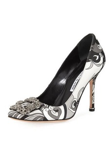 Manolo Blahnik Hangisi Crystal-Buckle Velvet 105mm Pump