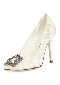 Manolo Blahnik Hangisi Floral Lace Crystal-Toe Pump