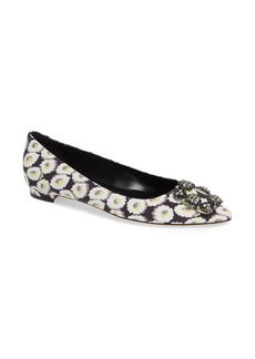 Manolo Blahnik Hangisi Floral Pointy Toe Flat (Women)
