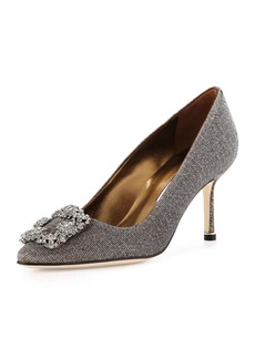 Manolo Blahnik Hangisi Glitter Fabric 70mm Pump