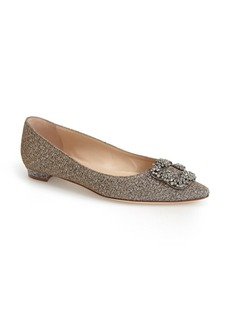 Manolo Blahnik 'Hangisi' Jeweled Pointy Toe Flat (Women)