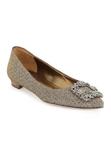 Manolo Blahnik Hangisi Metallic Fabric Buckle Flat