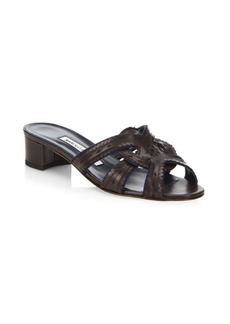 Manolo Blahnik Herflasa 30 Leather Slides