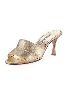 Manolo Blahnik Iacopo Metallic Fabric Sandal