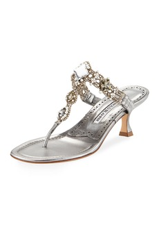 Manolo Blahnik Immro 50mm Jeweled Thong Sandal