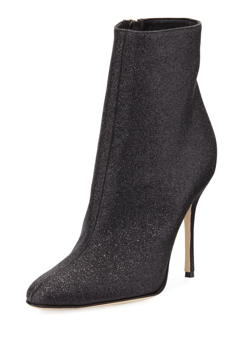 Manolo Blahnik Insopo 105mm Shimmer Fabric Booties