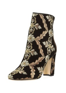 Manolo Blahnik Isola Embroidered Velvet Bootie