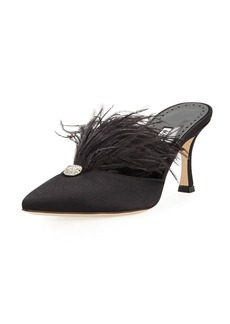 Manolo Blahnik Isona Satin Feather Mules