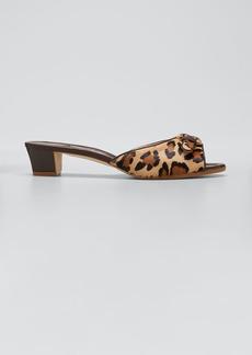 Manolo Blahnik Jarra Leopard-Print Fur Slide Sandals