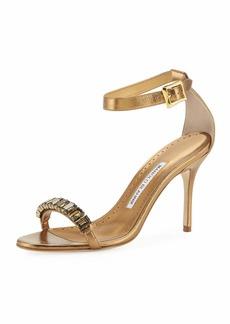 Manolo Blahnik Jeweled Metallic Leather Sandals