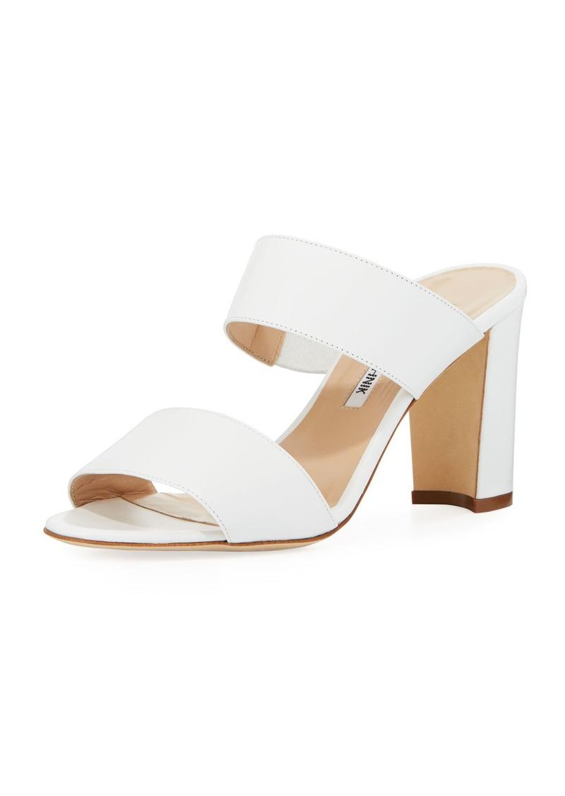Manolo Blahnik Kalita Leather Slide Sandal