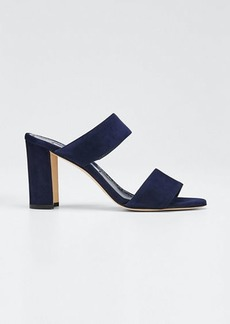 Manolo Blahnik Kalita Suede Slide Sandals