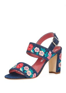 Manolo Blahnik Khan Embroidered Block-Heel Sandal