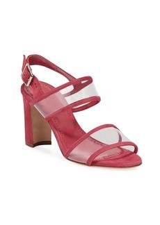 Manolo Blahnik Khan Suede Clear-Strap Sandals