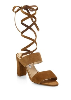 Manolo Blahnik Khandala Suede Ankle-Wrap Block Heel Sandals