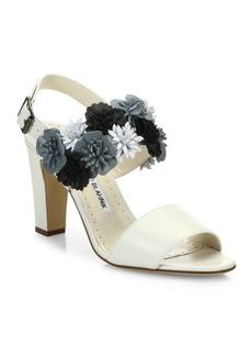 Manolo Blahnik Khanfior 90 Flower Leather Slingback Sandals