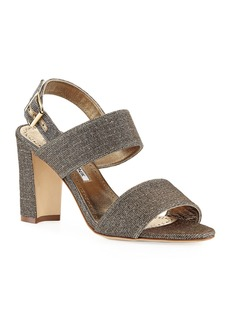 Manolo Blahnik Khans Metallic Two-Band Sandals  Bronze