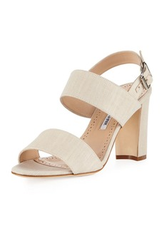 Manolo Blahnik Khans Two-Band Linen Sandal