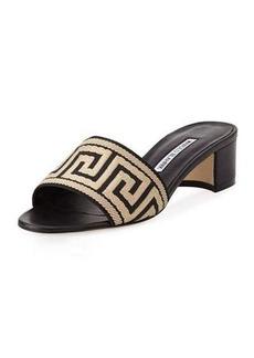 Manolo Blahnik Kip Woven Slide Sandal