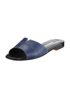 Manolo Blahnik Lasatte Notched Flat Leather Slide Sandals