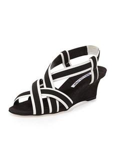 Manolo Blahnik Lasti Crisscross Wedge Sandal
