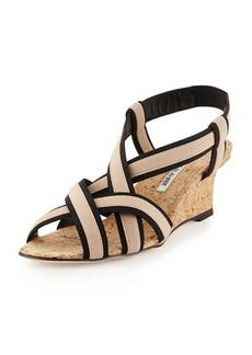 Manolo Blahnik Lasti Elastic Crisscross Wedge Sandal