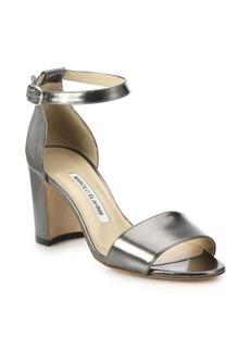Manolo Blahnik Laura Metallic Leather Block-Heeled Sandals
