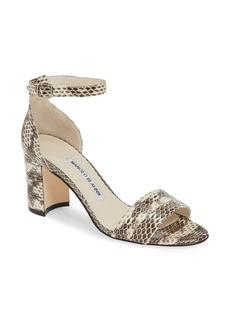 b130fe72670c1 Manolo Blahnik Manolo Blahnik Pompom Linen Block-Heel Sandal Now $326.00