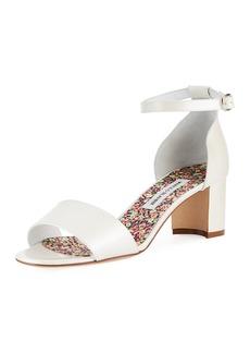 Manolo Blahnik Lauratom Satin Block-Heel Sandal