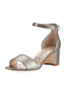 Manolo Blahnik Lauratom Snake-Embossed Leather Sandal