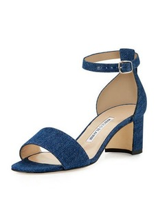 Manolo Blahnik Lauratomod Denim Ankle-Wrap Sandal