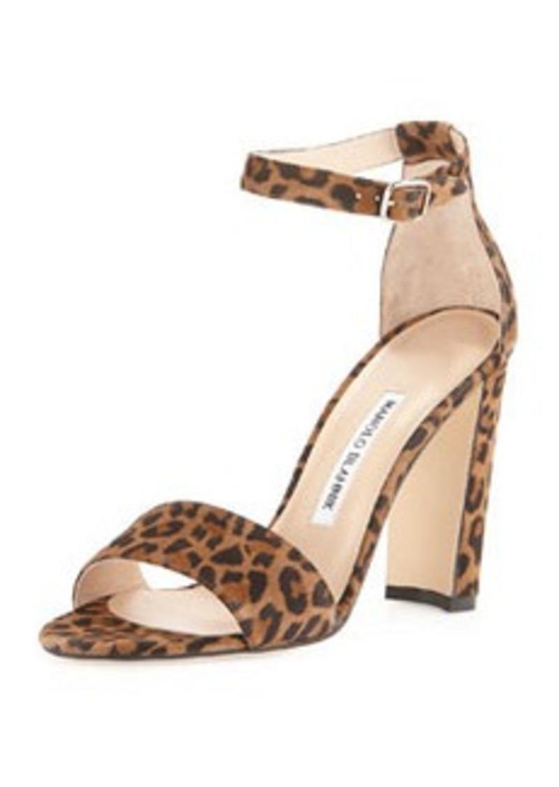 Manolo Blahnik Lauratop Suede Ankle-Wrap Sandal, Leopard