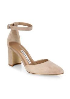 Manolo Blahnik Lausam Suede Ankle-Strap Block Heel Sandals