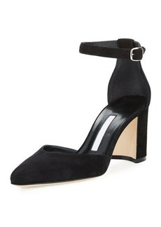 Manolo Blahnik Lausam 70mm Suede Ankle Stra