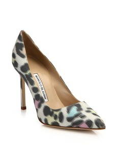 Manolo Blahnik Leopard-Print 105 Point Toe Pumps