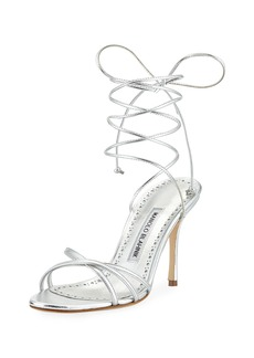 Manolo Blahnik Leva Metallic Strappy Ankle-Wrap Sandal