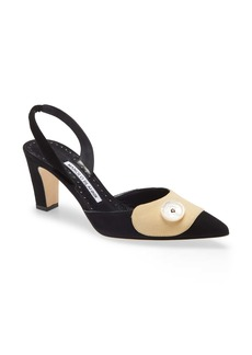 Manolo Blahnik Ligrasa Pointed Toe Slingback Pump (Women)