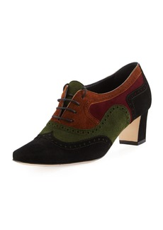 Manolo Blahnik Magnesia Colorblock Suede Oxford Pump