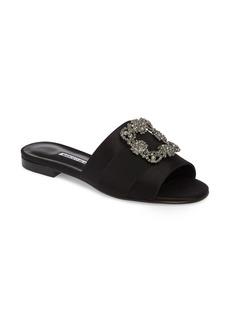 Manolo Blahnik Martamod Crystal Embellished Slide Sandal (Women)
